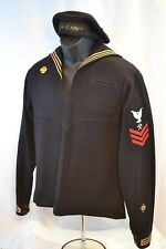 WWII US NAVY CB PETTY OFFICER  DRESS BLUE NAMED UNIFORM BLUE FLAT HAT METALSMITH