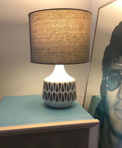 John Lewis Mid Century German White Grey Table Desk Livingroom Bedside Lamp