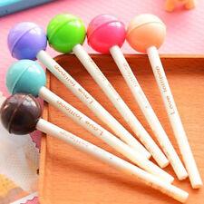 Sweet School Kids Office Women Black Ink Writing Pen Lollipop Shape Ballpoint