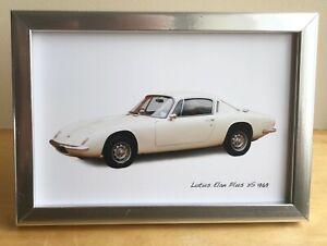 Lotus Elan Plus 2S 1969 - 4x6in Photo in Black, White or Silver coloured frame.