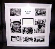 F1 CHAMPION SIR STIRLING MOSS SIGNED PAGE WITH 8 PICTURES IN A LARGE GLOSS FRAME