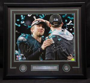 Nick Foles Carson Wentz Signed Eagles SB LII Framed 16x20 Photo Fanatics 484