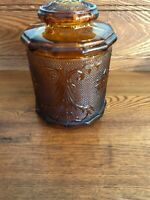VINTAGE TIARA INDIANA SANDWICH GLASS AMBER CANISTER LARGE  5 1/2 ""