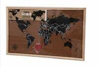 Framed - Memo - Cork/Notice/Pin Board - Travel Map - 60cm x 40cm
