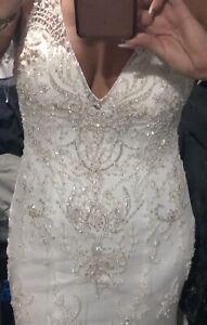 New Maggie Sottero Kyra Ivory Wedding Dress Size 10 Or 12 Lace Swarkski
