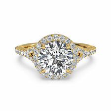 1.10ct Moissanite Round Cut Diamond Engagement Ring 14kt Yellow Gold Ring Size 8