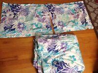 Pottery Barn Teen Blue Purple Floral Hawaiian Full Queen Duvet Pillow Cases SET