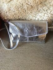 Small Silver Leather Shoulder Bag Metallic