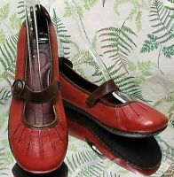 BORN RED LEATHER MARY JANES LOAFERS SLIP ONS WALKING SHOES MOCS US WOMENS SZ 9 M