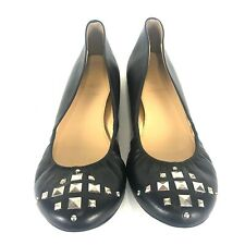 New J. Crew Black Leather Studded Ballet Flats Women 8.5