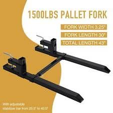 """30"""" 43"""" 1500lbs Clamp on Pallet Fork Quick Attach With Adjustable Stabilizer Bar"""