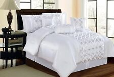 Luxurious 7pcs Comforter Royal Sequines Queen set White