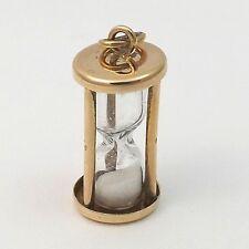 14K Yellow Gold 3D Diamond Dust Hourglass Charm Pendant 2gr