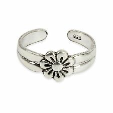Sterling Silver .925 Flower Style Toe Ring Womne's Adjustable Size