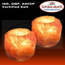 2 X Himalayan Crystal Rock Salt Candle Tea Light Holder Night Desk Candle Lamp