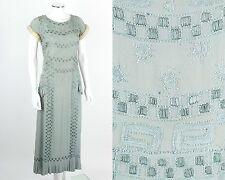 VTG RARE EARLY c.1920's LIGHT BLUE BEADED SILK EVENING DRESS ERMINE FUR TRIM