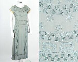VTG RARE EARLY c.1920's LIGHT BLUE BEADED SILK EVENING DRESS GENUINE FUR TRIM