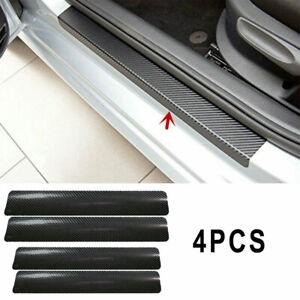 4Pc Carbon Fiber Black Car Door Sill Scuff Plate Anti-Scratch Sticker Trim Cover