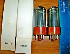 2 Strong Matched RCA Brown Base Gray Glass 6V6GTY Tubes