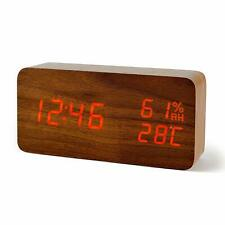 FiBisonic Alarm Clock with LED Digital Display,Wood Clock with Voice Control