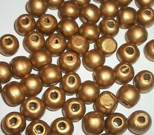 Wood beads, 10mm round dyed wooden beads for jewelry making Gold 100 pc