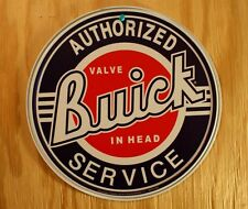 Round Buick Tin Metal Sign Authorized Service Car Garage Mechanic Valve In Head