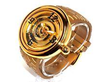 VON DUTCH $985 MENS GIANT XL GOLD STEEL SWISS WATCH, SAPPHIRE - TIRE TRACK STRAP