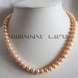 """18"""" 8-10mm Peach Pink Freshwater Pearl Necklace Bread Shape Strand Jewelry UE"""
