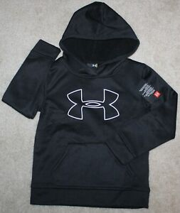 New! Boys Under Armour Big Logo Pullover (Hoodie; Black/White) - Size 4, 6, 7