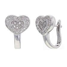 14k White Gold 1/3ctw Brilliant Diamond Heart Huggie Earrings