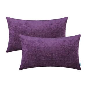 "2Pcs Plum Purple Bolster Cover Pillow Shells Dyed Soft Chenille Sofa Home 12x20"""