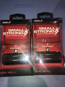 Lot Of 2pc iWalk Portable Micro Rechargeable Charger 3,000 Mah