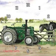 "Field Marshall tractor by Sue Podbery Handmade Wall Clock 19.6cm 8"" / 28.5cm 11"""