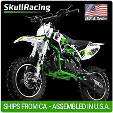 SkullRacing Gas Powered Kids Mini Dirt Bike Motorcycle 50Rr (Green)
