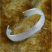 Ladies Mesh Style 18K White Gold Plated GP Charm 13MM X 8inch OPEN Bracelet-H185