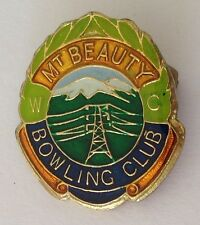 Mt Beauty Bowling Club Badge Pin Vintage Lawn Bowls Power Lines (L14)