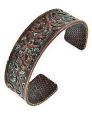 Native Cowgirl Bling Filigree Swirls Copper TURQUOISE Patina Cuff BRACELET