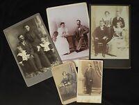 Mix Lot 5 CDV Victorian Cabinet Photos 1860 - 1900 , Photographic Collectibles