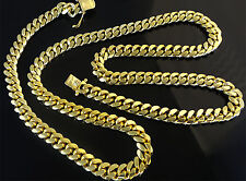 "14K Miami Cuban Link Chain Solid Gold, 22"" 6.9 MM 80.1 Grams Heavy Necklace Men"