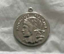 Republique Francaise Shiny Silver Coin Pendant Approximately 1 1/8� Round