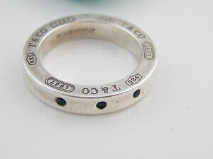 Auth Tiffany & Co Silver 1837 Sapphire Ring Size 4