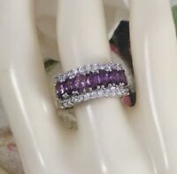 Vintage Jewellery Gold Ring with Amethyst White Sapphires Antique Deco Jewelry 9