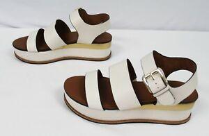 Naturalizer Women's Wide Billie Platform Sandals OS6 White Alabaster Size US:11W