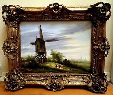 ANTIQUE BAROQUE STYLE FRAMED OIL PAINTING WINDMILL FIELD SCENE 21X17 SIGNED