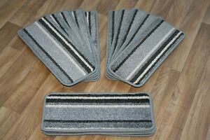 14 Striped Open Plan Carpet Stair Treads Funky Silver 033 14 Large Pads!