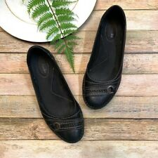 CLARKS Women's Black leather Slip-On Shoes Flats Size 8