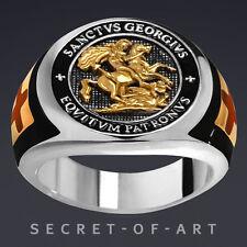 SAINT GEORGE TEMPLAR EQVITVM PATRONVS SILVER 925 RING, 24K GOLD-PLATED PARTS