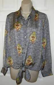 Womens🦋RIVER ISLAND🦋black mix front tie dipped hem satin shirt top size 14