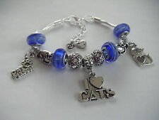 Love My CHATS/CAT Person Charm Bracelet Cat Soft Kitty Crazy Cat Lady! lampwork