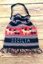 ORIGINAL VINTAGE 1960s SICILIA RARE HAND CRAFTED WOVEN POUCH BAG ITALY SICILY